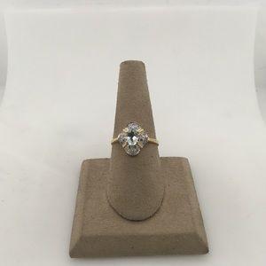 Jewelry - 14K Yellow Gold Aquamarine & Diamond Ring